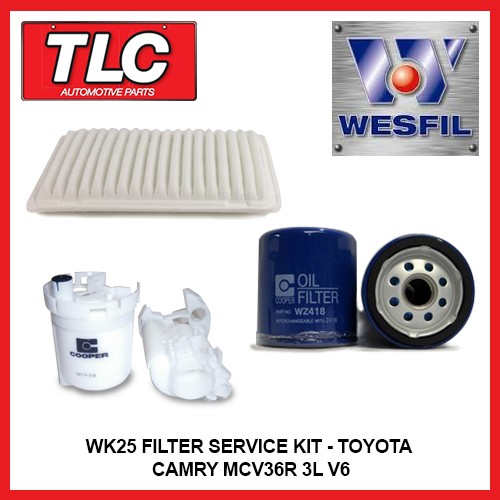 wk25 air oil fuel filter kit toyota camry mcv36r 3 0l v6 1mz fe 2002 2006. Black Bedroom Furniture Sets. Home Design Ideas