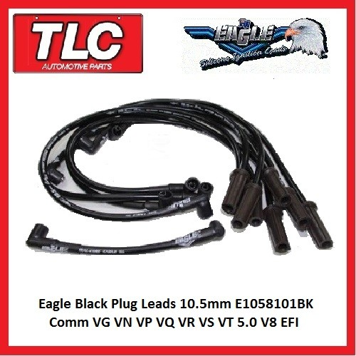 Eagle Black Plug Leads 10.5mm E1058101BK Comm VG VN VP VQ VR VS VT  5.0 V8 EFI