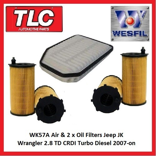 WK57A Air & 2 x Oil Filter Kit JK Jeep Wrangler 2.8 TD CRDi Turbo Diesel 2007-on