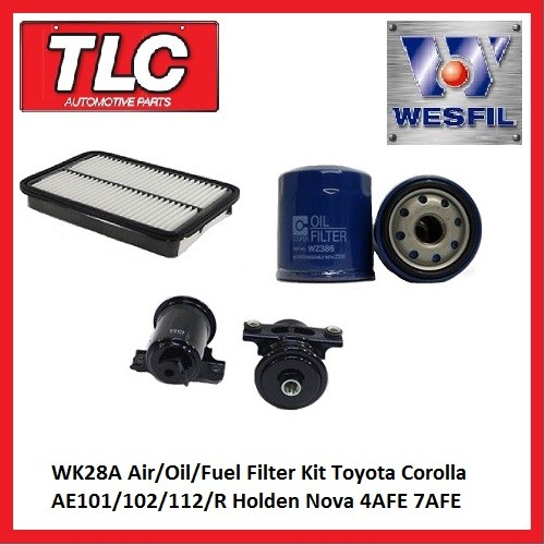 WK28A Air Oil Fuel Filter Kit Corolla AE101 102 112R Holden Nova 4AFE 7AFE