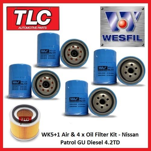 WK5+1 Air & 4 x Oil Filter Kit Nissan Patrol GU Diesel 4.2TD