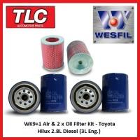 WK9+1 Air & 2x Oil Filter Kit Toyota Hilux 2.8L LN86 LN106 LN107 LN111 Diesel 3L