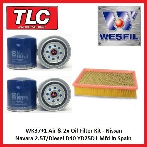 WK37+1 Air & 2x Oil Filter Kit Nissan Navara 2.5T/Diesel D40 YD25D1 Mfd in Spain