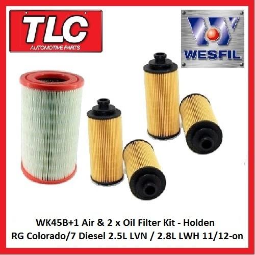 WK45B+1 Air & 2x Oil Filter Kit RG Colorado/7 Diesel 2.5L LVN/2.8L LWH 11/12-on