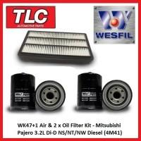 WK47+1 Air & 2 x Oil Filter Kit Mitsubishi Pajero 3.2L Di-D NS NT NW Diesel 4M41