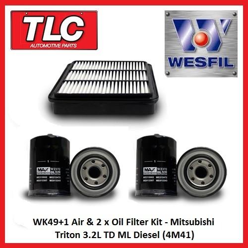 WK49+1 Air & 2 x Oil Filter Kit Mitsubishi Triton 3.2L TD ML Diesel 4M41