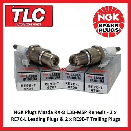 Genuine NGK Spark Plugs Mazda RX8 RX-8 RX 8 Set RE7C-L x 2 RE9B-T x 2