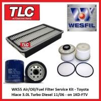 WK55 Air/Oil/Fuel Filter Kit Toyota Hiace KDH2XXR 3.0 T Diesel 1KD-FTV 11/06-on