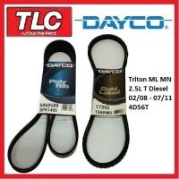 Dayco Fan Belt Kit (2 Belts) ML MN Triton 2.5 Turbo Diesel 4D56T 02/08 - 07/11