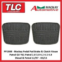 Mackay Pedal Pads Manual Brake & Clutch Nissan Patrol GU Y61 12/97 - 03/13
