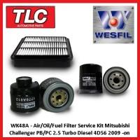 WK48A Air/Oil/Fuel Filter Kit Mitsubishi Challenger 2.5L TD PB/PC Diesel 4D56