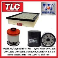 Wesfil Air/Oil/Fuel Filter Kit Hilux GUN122R 123R 125R 126R 136R 1GD-FTV 2GD-FTV