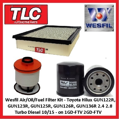 Wesfil Air/Oil/Fuel Filter Kit Hilux GUN122R 123R 125R 126R 136R 1GD-FTV 2GD-FTV