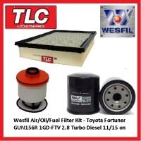 Wesfil Air Oil Fuel Filter Kit - Toyota Fortuner GUN156R 2.8 TD 1GD-FTV 04/15 -