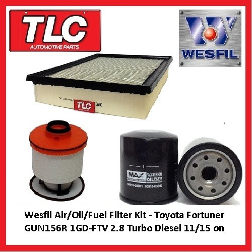 Wesfil Air Oil Fuel Filter Kit - Toyota Fortuner GUN156R 2.8 TD 1GD-FTV 04/15 -