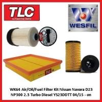 WK64 Air/Oil/Fuel Filter Kit Navara D23 NP300 2.3 Turbo Diesel YS23DDTT 04/15 on