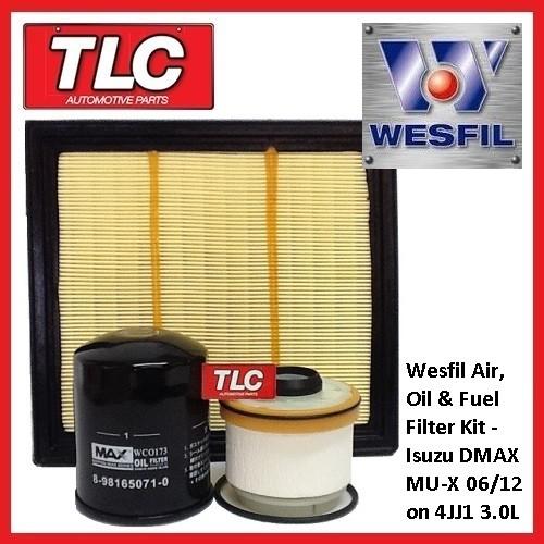 Wesfil Air Oil Fuel Filter Kit Isuzu DMax D-Max D Max MUX MU-X 3.0TD 4JJ1 06/12-on