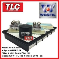 Wesfil Air & Cabin + Ryco Syntec Oil Filter + NGK Plugs Kit RX8 RX-8 1.3L 13B