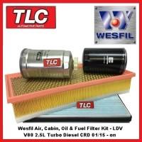 Wesfil Air Fuel Oil Cabin Filter Kit LDV V80 2.5 CRD Turbo Diesel 01/15 - on