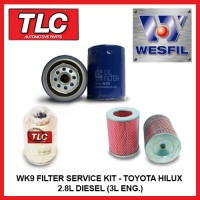 WK9 Air Oil Fuel Filter Kit - Toyota Hilux 2.8L Diesel 3L Eng. LN86 106 107 111