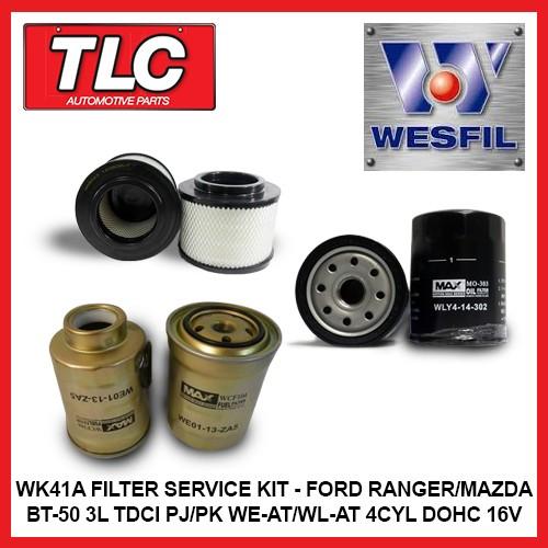 wk41a air oil fuel filter kit ranger bt-50 3l tdci pj pk we-at wl-