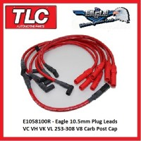 Eagle Red 10.5mm Plug Leads E1058100R VC VH VK VL 253-308  V8 Carb eng. post cap