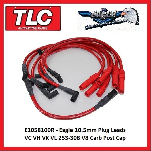 Eagle Red 10.5mm Plug Leads E1058100R VC VH VK VL 253-308  V8 Carb eng. post cap