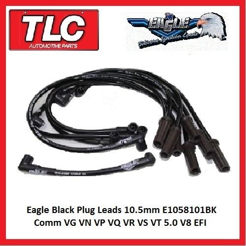Eagle Black Plug Leads 10.5mm E1058101BK Comm VG VN VP VQ VR VS VT  5.0 V8 EFI