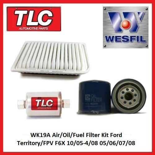 WK19A Air Oil Fuel Filter Kit Ford Territory FPV F6X 10/05-4/08 05 06 07 08