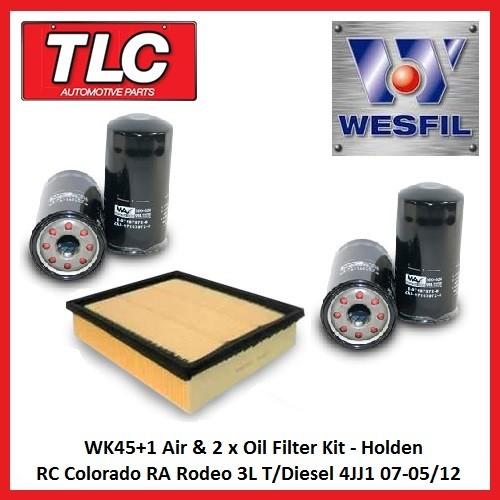 WK45+1 Air & 2 x Oil Filter Kit RC Colorado RA Rodeo 3L T/Diesel 4JJ1 07-05/12