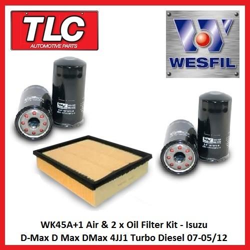 WK45A+1 Air & 2x Oil Filter Kit Isuzu D-Max D Max DMax 4JJ1 Turbo Diesel 07-05/12