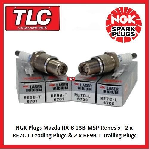 Genuine NGK Spark Plugs Mazda RX8 RX-8 RX 8 Set RE7C-L x 2 RE9B-T x 2
