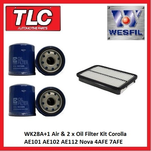 WK28A+1 Air & 2x Oil Filter Kit Corolla AE101 AE102 AE112 Nova 4AFE 7AFE