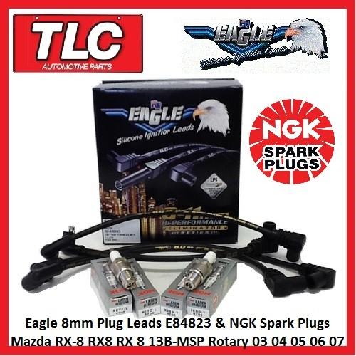 NGK Plugs & Eagle 8mm Leads E84823 Mazda RX-8 RX8 RX 8 13B-MSP 03 04 05 06 07