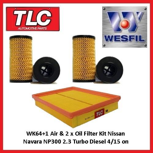 WK64+1 Air & 2 x Oil Filter Kit Nissan D23 NP300 Navara 2.3 Turbo Diesel 4/15-on