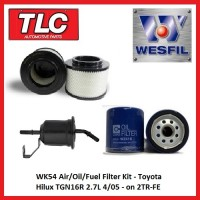 WK54 Air Oil Fuel Filter Kit - Toyota Hilux TGN16R 2TR-FE 2.7L 4/05-on