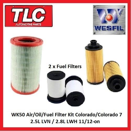 WK50 Air/Oil/Fuel Filter Kit RG Colorado/7 Diesel 2.5L LVN / 2.8L LWH 11/12-on
