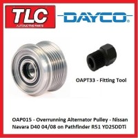 OAP015 Alternator Overrun Pulley - Nissan Navara D40 Pathfinder R51 YD25DDTi Kit