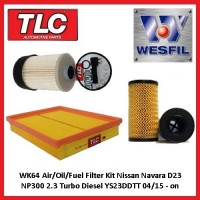 WK64 Air/Oil/Fuel Filter Kit Navara D23 NP300 2.3 Turbo Diesel YS23DDTT 04/15 on