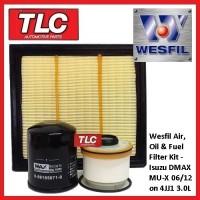 Wesfil Air Oil Fuel Filter Kit Isuzu DMax D-Max D Max MUX MU-X 3.0TD 4JJ1 06/12-on