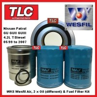 WK5 Air Oil Fuel Filter Kit Nissan Patrol GU GUII GUIII Diesel 4.2TD 05/99 - 07