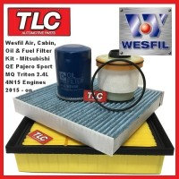 Wesfil Air Cabin Oil Fuel Filter Kit Mitsubishi MQ Triton 2.4 TD 4N15 01/15 - on