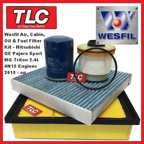 Wesfil Air Cabin Oil Fuel Filter Kit Mitsubishi MQ Triton 2.4 TD 4N15 01/15 - on