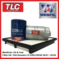 Wesfil Air Oil Fuel Filter Kit KIA Sorento BL 2.5 Diesel CRDi D4CB6 08/07-09/09