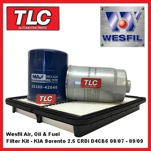 Wesfil Air Oil Fuel Filter Kit KIA Sorento BL 2.5 Diesel CRDi D4CB6 08/07-09/09