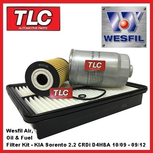Wesfil Air Oil Fuel Filter Kit KIA Sorento XM 2.2 Diesel CRDi D4HBA 10/09-09/12