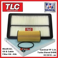 Wesfil Air Cabin & Oil Filter Service Kit KIA Carnival YP 2.2 D4HB 02/2015 - on