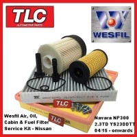 Wesfil Air Oil Fuel Cabin Filter Kit Navara NP300 2.3 TD YD23DDTT 04/15 - on