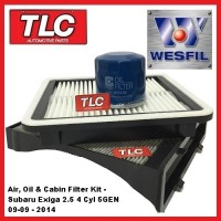 Wesfil Air Oil Cabin Filter Service Kit Subaru Exiga 2.5 4 cyl. 5GEN 09/09 - 14
