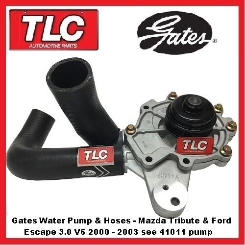 Water Pump, Housing & Hoses Mazda Tribute MPV & Ford Escape 3.0 V6 00 01 02 03